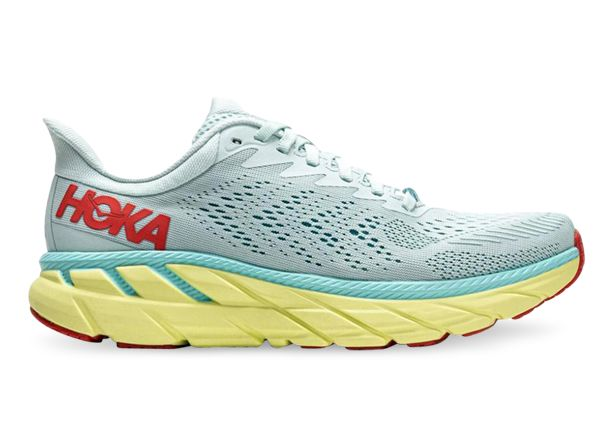HOKA ONE ONE CLIFTON 7 WOMENS MORNING MIST HOT CORAL