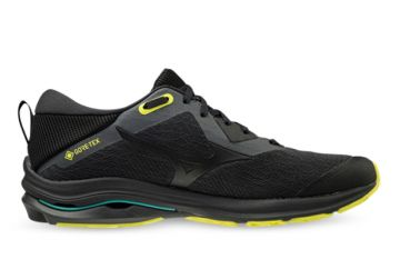 MIZUNO WAVE RIDER GORE-TEX MENS DARK SHADOW BLACK SAFETY YELLOW
