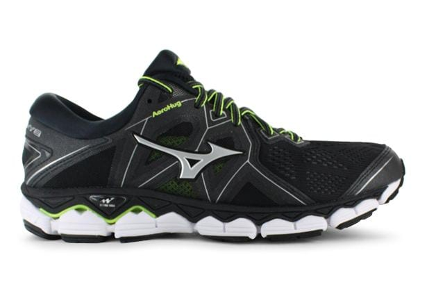 MIZUNO WAVE SKY 2 MENS BLACK SAFETY YELLOW
