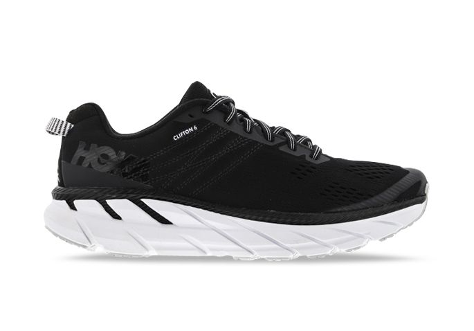 HOKA ONE ONE CLIFTON 6 MENS BLACK WHITE