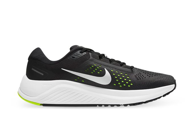 NIKE AIR ZOOM STRUCTURE 23 MENS BLACK METALLIC SILVER VOLT ANTHRACITE