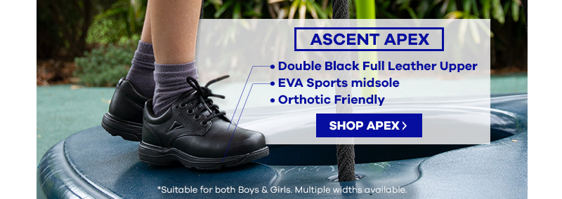 Ascent Apex Black Senior School Shoe | The Athlete's Foot